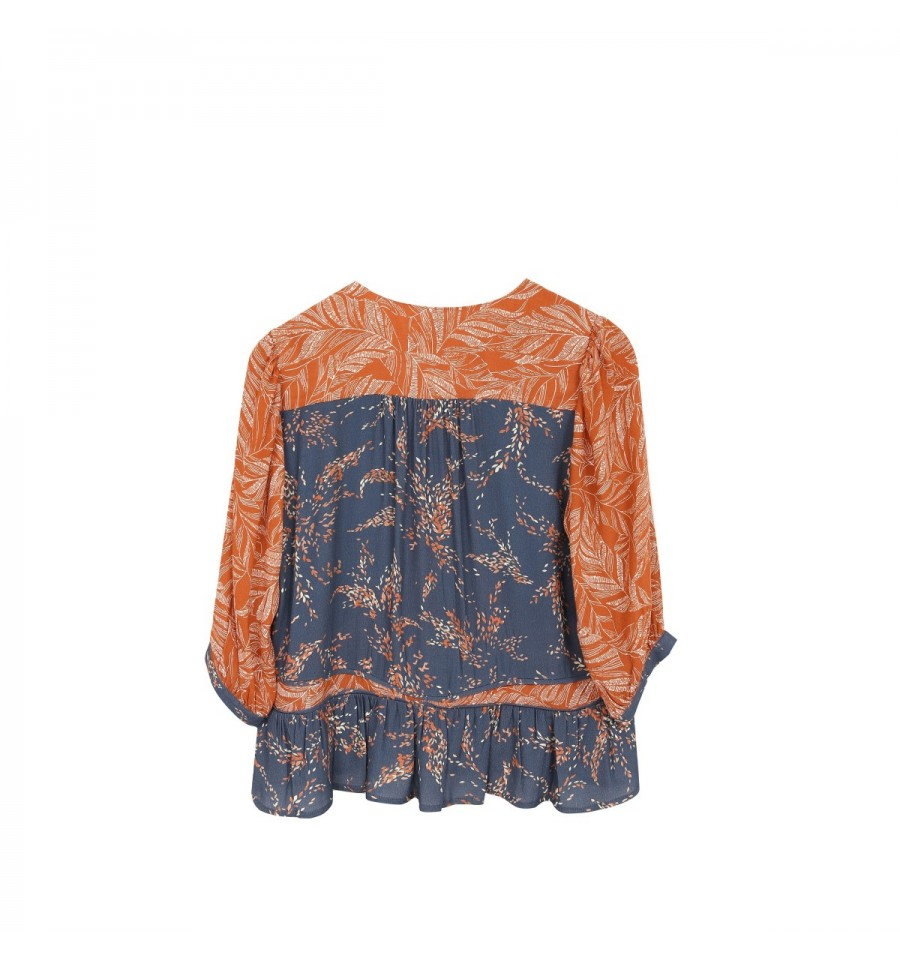 BLUSA M/ 3/4 ESTAMPADA COLOR AZUL LADRILLO